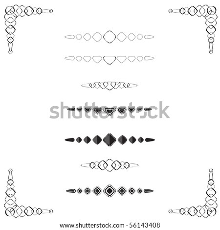 A collection of page & text dividers with ornamental border, diamond in shape, black & white, vector illustration - stock vector