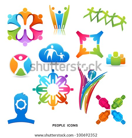 A Collection of People Icons and Symbols, vector designs. - stock vector