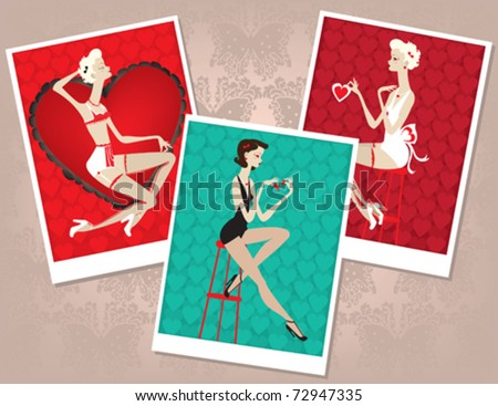A collection of pin-up girl instant photos. - stock vector