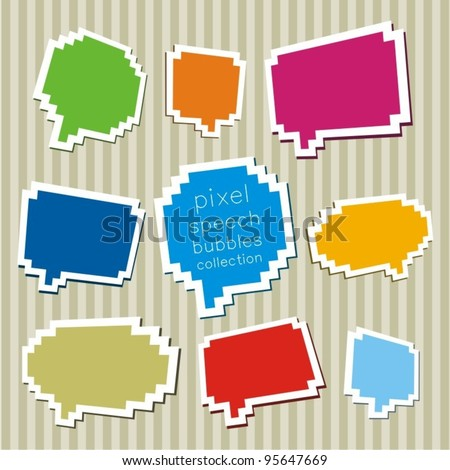 A collection of pixel speech bubbles. Vector illustration. - stock vector