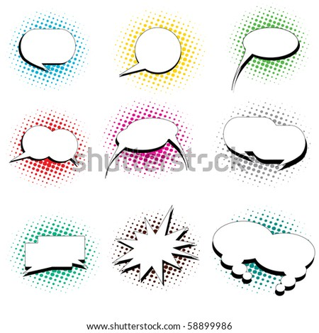 A collection of pop art cartoon style thought and speech bubbles - stock vector