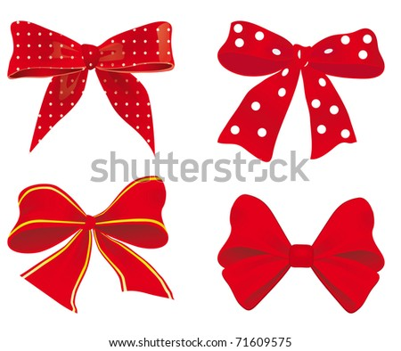 A collection of red ribbons. Vector illustration - stock vector