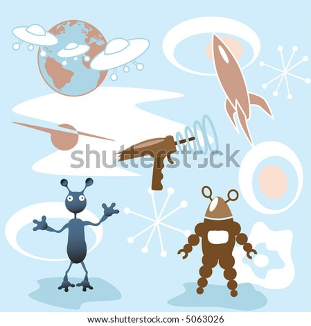 A collection of retro futuristic 50's outer space elements: rocket; blaster; mars attack; robot; more. - stock vector