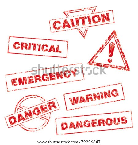 A collection of rubber stamps in a grungy look with following messages: caution, critical, danger, emergency, warning, dangerous, beware (triangle with exclamation mark). - stock vector