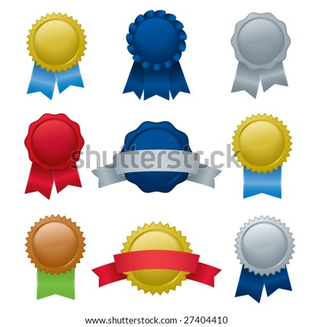 A collection of seals, badges, and ribbons; blends and gradients used. - stock vector