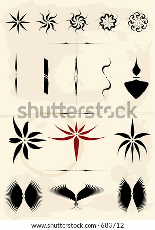A collection of separable and editable tribal / fancy icons on stained paper (Vectors 24)