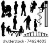 A collection of silhouettes of children playing - stock