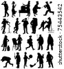A collection of silhouettes of people from different professions - stock vector