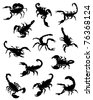 A collection of silhouettes of scorpions - stock vector