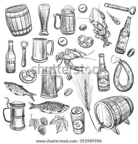 A collection of sketches on the theme of beer and snacks . High-quality pictures - stock vector