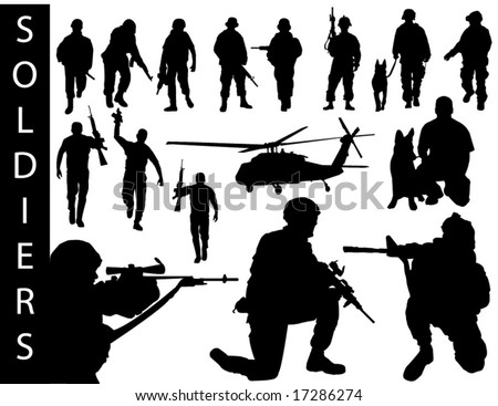 A collection of soldier silhouettes - check out my portfolio for other collections. - stock vector