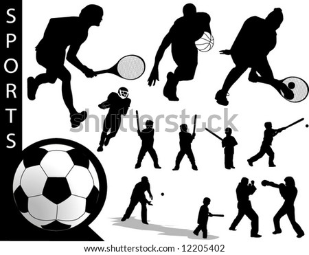 A collection of Sports silhouettes - Check out my portfolio for other collections. - stock vector