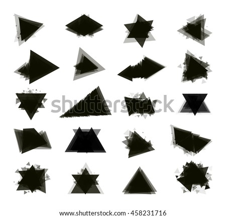 A collection of stand-alone monochrome black elements for design of posters, cards, brochures and site titles. Isolated objects on white background can be edited 2. Vector illustration - stock vector