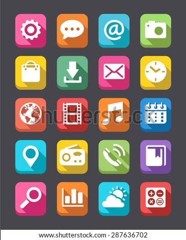 A collection of 20 technology icons with a Flat Look and squared background  - stock vector