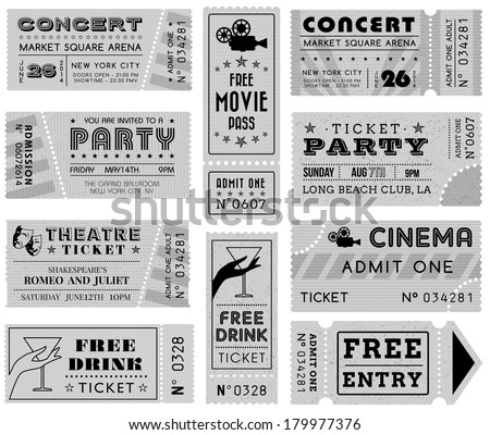A collection of ten vector grunted Gray-scale Tickets, Vector file is organized with layers, with every ticket divided into 3 layers, separating Background Shape from the texture effect and text. - stock vector