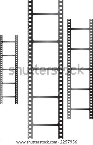 a collection of three films stood up in a vertical plane - stock vector