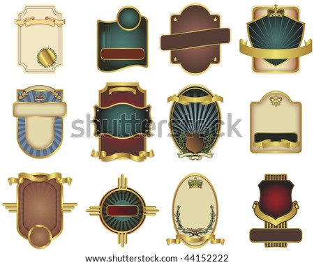 A collection of twelve vector label templates perfect for wine or other beverage labels. - stock vector