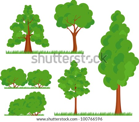 a collection of various types and forms of trees bushes grass on a white background  in a cartoon effect - stock vector