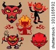 A collection of vector cartoon devil characters in various styles. - stock vector