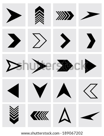A collection of vector chevron and arrowhead design elements - stock vector