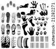 A collection of Vector Fingerprints, Footprints and more - stock vector