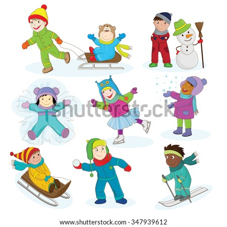 A collection of vector illustration of happy kids playing in snow and having winter fun. There is another version of this illustration with the outlines only for a coloring book. - stock vector