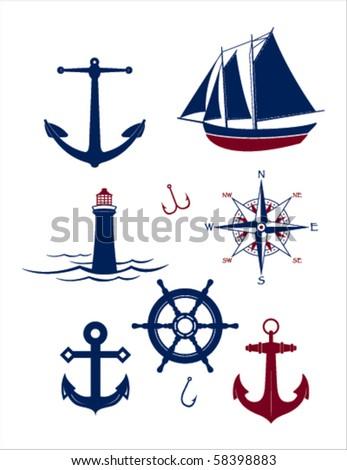 A collection of vector nautical icons - stock vector