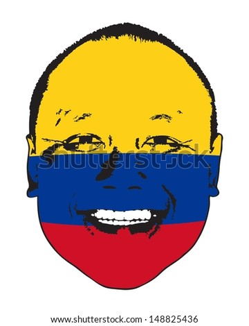 A Colombia flag on a face, isolated against white.  - stock vector