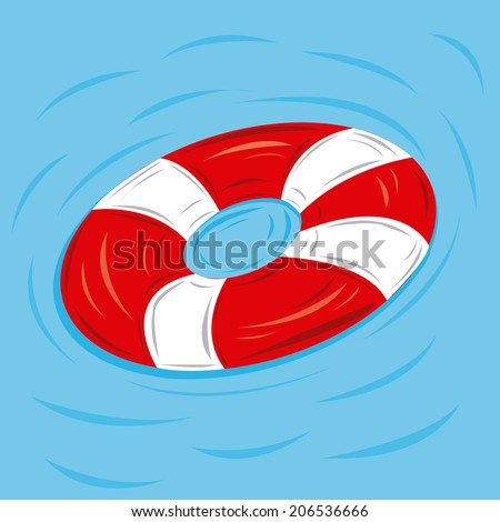 a colored lifesaver on the water with some waves
