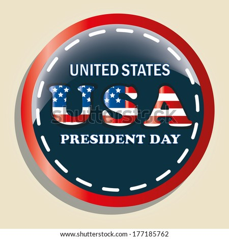 a colored round icon with some text for president's day