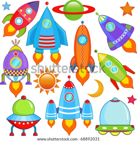 A colorful and cute cartoon vector collection of spaceship - Spacecraft, Rocket, UFO isolated on white - stock vector