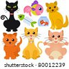 A colorful and cute vector collection of cat and fish isolated on white - stock vector