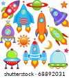 A colorful and cute vector collection of spaceship - Spacecraft, Rocket, UFO isolated on white - stock vector