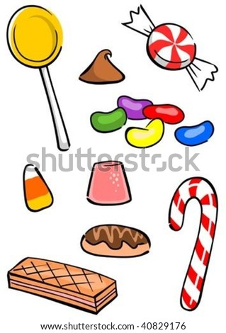 A colorful assortment of yummy candy. - stock vector