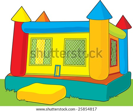 A colorful bounce castle set outdoors on white background - stock vector