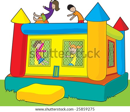 A colorful bounce castle set outdoors on white background with kids jumping - stock vector