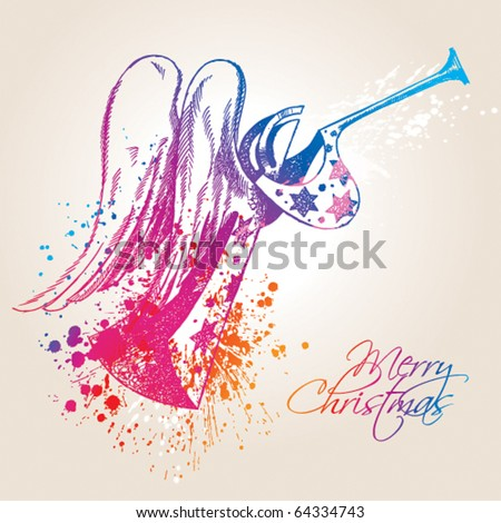 A colorful Christmas Angel with drops and sprays on a beige background. Vector illustration. - stock vector