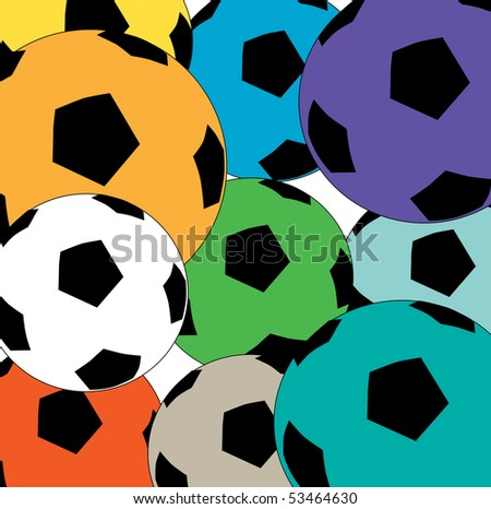 A colorful cluster of soccer balls background - stock vector