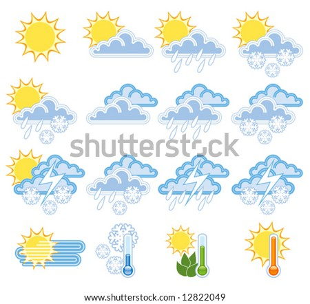 A colorful collection of a weather icons - stock vector