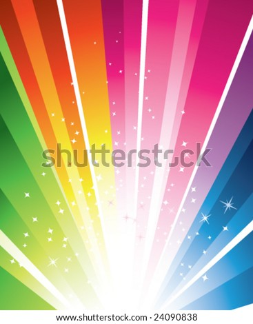 A colorful design with a burst and stars - stock vector