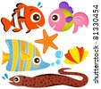 A colorful set of cute Animal Vector Icons : Fish and Sea life - stock vector