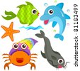 A colorful set of cute Animal Vector Icons : Fish, Sea Life - stock vector