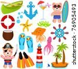A colorful set of cute Bear Vector Icons : Summer Theme, isolated on white - stock vector