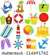 A colorful set of cute Vector Icons : Beach in the Summer Theme, isolated on white - stock photo
