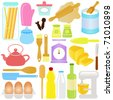 A colorful set of cute Vector Icons : Cooking, Baking Theme, isolated on white - stock vector