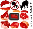 A colorful set of Vector Icons : Beef, Pork, Sausage isolated on white - stock vector