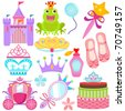 A colorful set of Vector Icons : Sweet Princess Set - stock vector