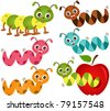 A colorful Theme of cute vector Icons : Worms & Apple - stock vector