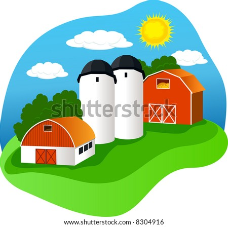 A colorful vector illustration of a farm