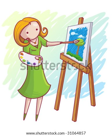 A colorful vector image of a woman painting.